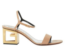 Triangle cutout heel leather sandals