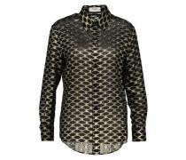 Loose 'drugstore'-collar jacquard silk shirt