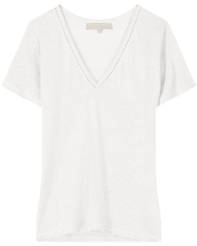 Leinen-T-Shirt Natalia mit V-Ausschnitt