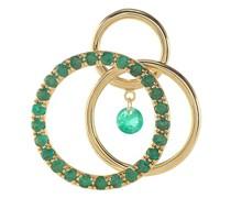 Mono-Ohrring Wirbel mit einem Smaragd