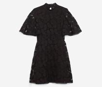 Bedrucktes kurzes Kleid mit Spitzenvolants