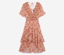 bedrucktes langes Kleid mit Volants