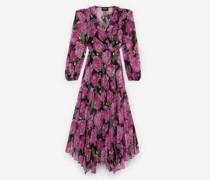 Langes fließendes Kleid mit Blumenmotiv
