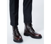 Boots bordeaux Lederdetail Schnürung