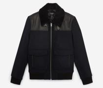 Fur collar wool aviator jacket