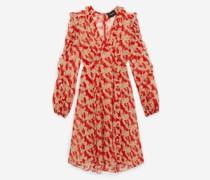 Bedrucktes kurzes Kleid mit Volants