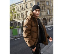 Puffy-Effect Down Jacket With Fake FUR Around THE Hood