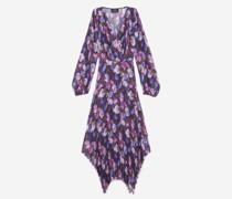 Plissiertes langes Kleid mit lila Print