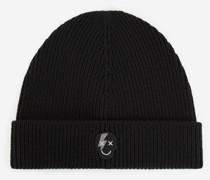 Mütze Wolle Badge Totenkopf
