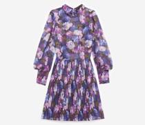 Plissiertes fließendes Kleid mit lila Print