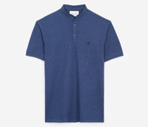 Blue officer collar cotton polo with piping