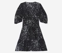 Kurzes Kleid bedruckt Volants