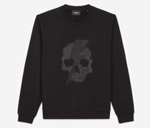 bedrucktes Sweatshirt mit Totenkopf