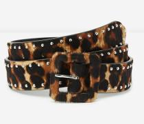 dicker damengürtel aus leder mit leopardenprint leopard