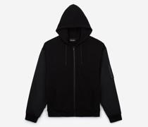 Molton-Sweatshirt mit kontrastierenden Nylon-Ärmeln
