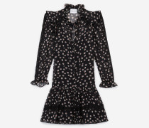 Kurzes Kleid mit Blumenmotiv und Knöpfen
