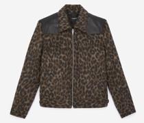 Wolljacke braun Leopardenprint
