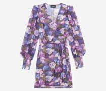 Wickelkleid mit lila Print
