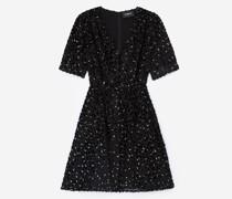 Kurzes Kleid Silberpunkte