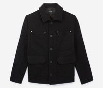 Zipped wool classic collar jacket