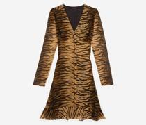 Kurzes Kleid mit Knöpfen und Tigerprint