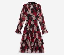 Langes elegantes Kleid mit Blumenprint