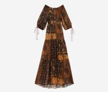 Bedrucktes & orangenes langes Kleid