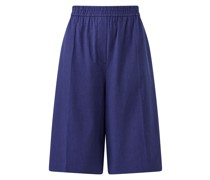 Stretch Linen Cotton Tan Shorts Blue