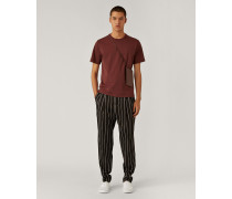 Viscose Wool Stripe Trousers