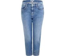 Jeans, 7/8 Länge, Regular Fit, Washed-Look, Stickerei,