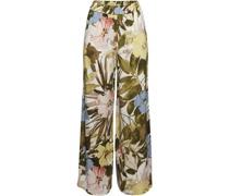 Stoffhose, weites Bein, Gummibund, floral,