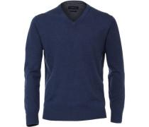Pullover, V-Ausschnitt, Rippbündchen, Baumwolle,