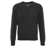 Pullover, uni, V-Ausschnitt, Schurwolle, Emblem,