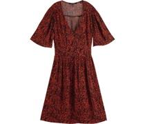 Print-Kleid, tailliert, tiefer V-Ausschnitt,