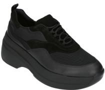 Sneaker, Plateausohle, Kontrast-Material, mit Schnürung, Zugschlaufe,