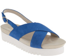 Sandaletten, Plateausohle geriffelt, Riemchen, Rauleder, Kontrastfarbe,