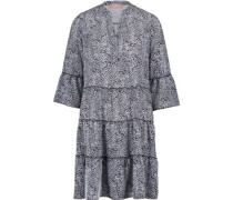 Tunika-Kleid, Split-Neck, Animal-Print,