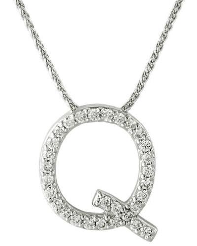 """Kette mit Anhänger """"Q"""", 375 Weißgold mit Diamanten, zus. ca. 0,15 ct."""