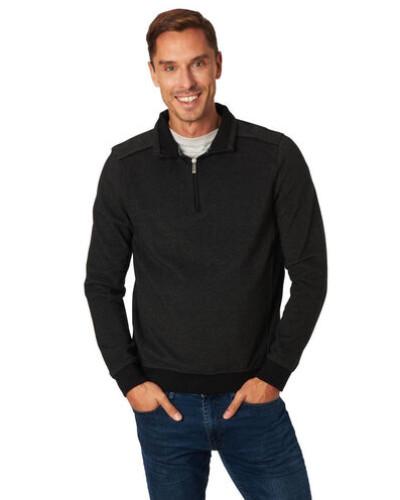 Sweatshirt, Troyer-Kragen, fein strukturiert, Rippbund