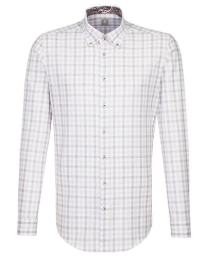 Business Hemd Slim Fit Langarm Button-Down-Kragen Karo /M