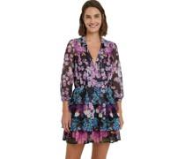 Kleid, kurz, Blumen-Muster, lange Ärmel, Hemdkragen,