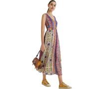 Midi-Kleid, V-Ausschnitt, ohne Ärmel, floral,