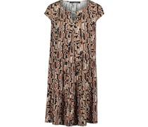 Kurzes Kleid, grafisches Muster, Schlüsselloch-Ausschnitt,