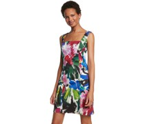 Kleid, kurz, quadratischer Ausschnitt, Blumen-Muster,
