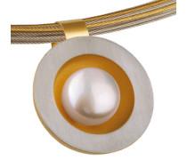 Anhänger, Edelstahl, bicolor, Süßwasser-Buttonperle ø 9 mm AN159