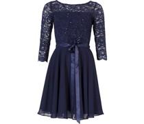 Kleid, Spitze, Chiffon, 3/4-Arm, Pailletten,