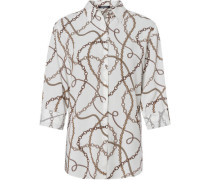 Bluse, 3/4-Arm, Ketten-Muster, langer Schnitt,