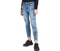 """Jeans """"Miami Flowers"""", 7/8, Destroyed, Blumenstickereien,"""