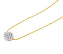 Kette mit Anhänger, Blüte, Diamant, Gold 375, zus. ca. 0.15 ct.