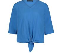 Bluse, kurz, 3/4 Arm, Knoten, V-Ausschnitt,